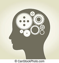 Head a gear wheel - Gear wheel in a head of the person. A...
