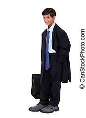 Young boy in an adult business suit