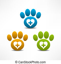 Veterinary Clinic symbol. Animal paw print
