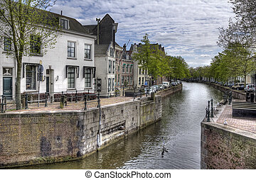 Dutch Canal - Old sluice in a canal in Schiedam, Holland