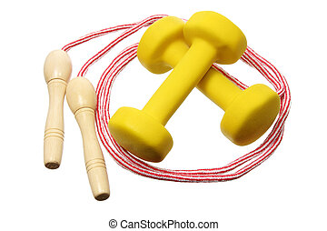 Dumb Bells and Skipping Rope on White Background