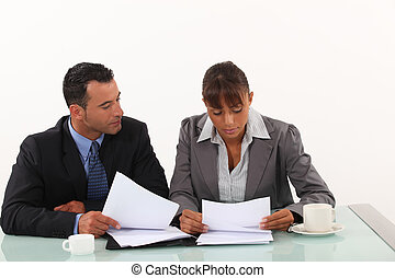 Business professionals reviewing reports