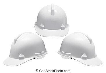 Hard Hats on White Background