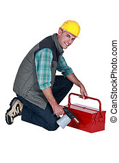 artesão, segurando, seu, ferramenta, caixa,...