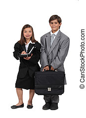 children wearing too large business clothes