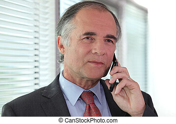 Senior businessman negotiating over the phone