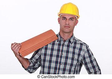 roofer, sur, remplacer, tuiles