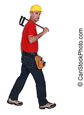 Worker with a clamp