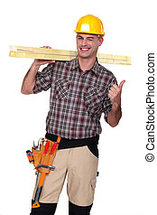 Satisfied building worker on white background