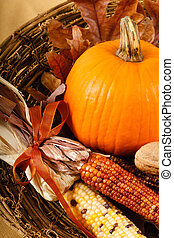 Fall Decorations With Pumpkin And Indian Corn - A colorful...