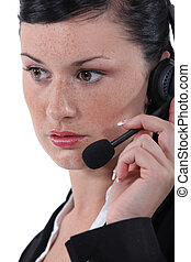 Pretty young woman with headset