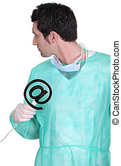 Surgeon with email symbol