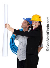 Woman and man builders