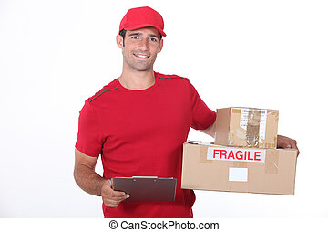 Delivery man on white background