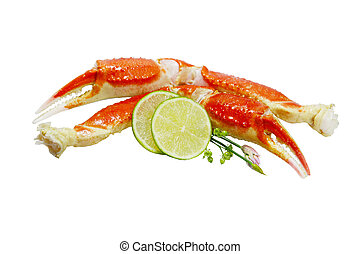 King Crab Legs - Boiled king crab legs with lime isolated on...
