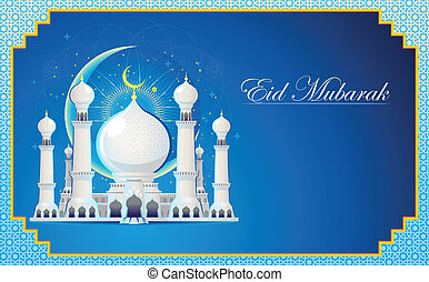 Eid Mubarak Greeting Card - Moslem Islam Eid Mubarak...