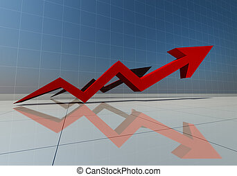 3d rendering of red arrow graph high isolated
