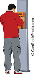 Man using a public phone. Vector illustration