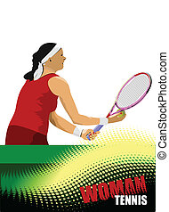 Woman tennis poster. Colored Vecto