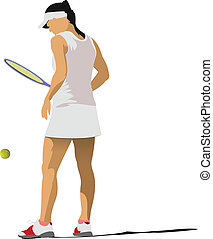 Woman tennis poster Colored Vector illustration