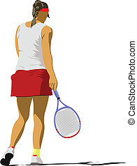 Woman tennis poster. Colored Vector illustration