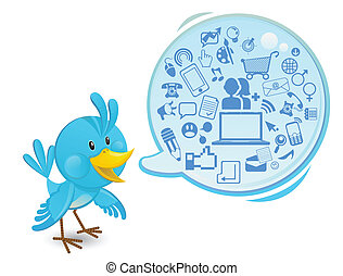Social Networking Media Bluebird - An illustration of smart,...