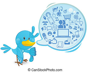 Social Networking Media Bluebird - An illustration of smart,...