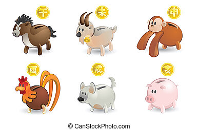 Piggy Bank of Chinese Zodiac - Illustration of Piggy Bank...