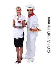 Waitress and cook pizzas