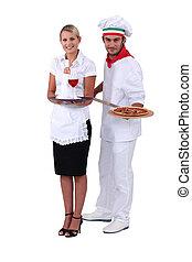 camarera, cocinero, Pizzas