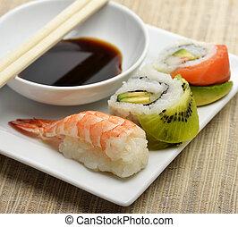 Sushi Rolls ,Close Up On White Dish