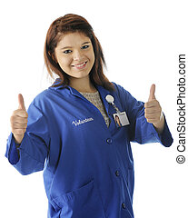 Thumbs Up for Volunteering - A happy young teen giving a...