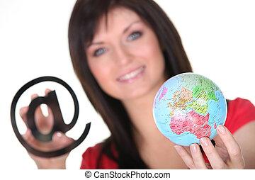 mujer, señal, globo