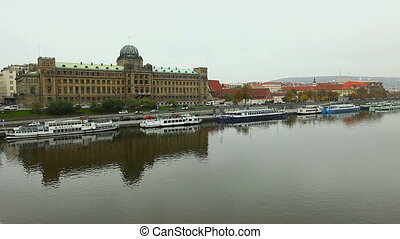 View on Prague from bridge over Vltava river