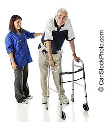 Assisting the Elderly - A young teen volunteer keeping an...