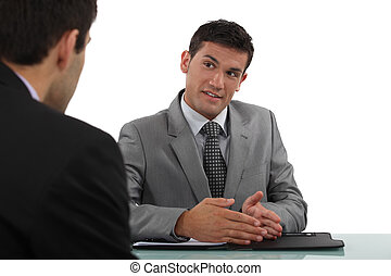 Man conducting interview