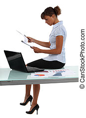 Woman reviewing the results of a market research