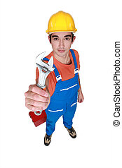 Worker with a spanner