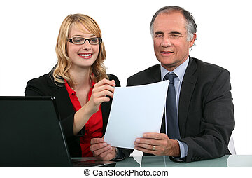 Colleagues with a laptop