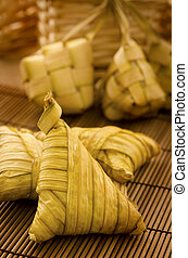 Ketupat Daun Palas - Traditional Asian Malay food, ketupat...