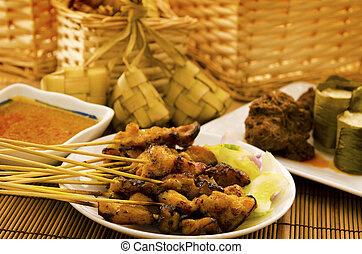 Asian malay Ramadhan foods, satay chicken, rendang, lemang...