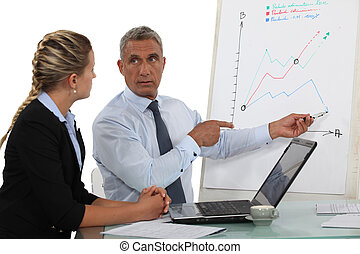 Boss pointing at flip-chart during meeting