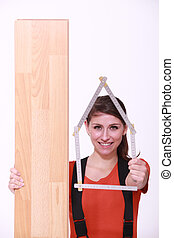 portrait of a woman with wooden plank