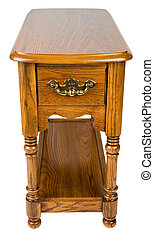 Oak End Table - Oak Chair Side End Table with Formica Top