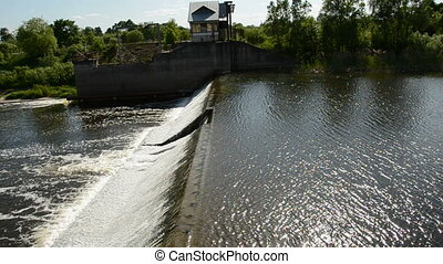 river dam in spring time - big river dam in spring time