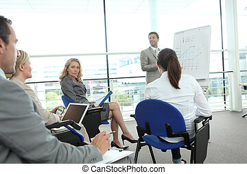 Colleagues sat looking at flip chart