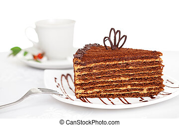 sweet chocolate cake on table