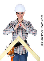 Female builder with a timber apex