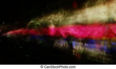 Smoke in laser rays - Clouds of smoke lighted with laser...
