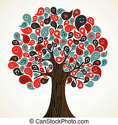 Abstract music tree - Abstract musical floral tree with...